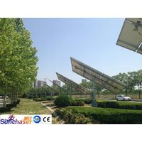 Dual-axis solar trackers for flat solar modules