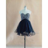 Navy Tulle Sweetheart Rhinestone Beaded Dress, Hidden Zipper Homecoming Dress, Dance Party Dress