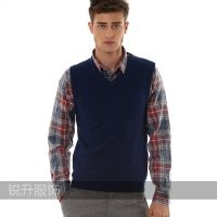 Classic Men's V Collar Sleeveless Cashmere Vest Business Casual Pullover Sweater