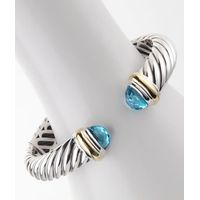 High Quality Sterling Silver Designs DY 10mm Blue Topaz Waverly Cable Bracelet thumbnail image