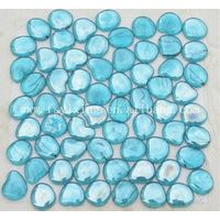 Blue Pebble Round Glass Mosaic For Pool Tile thumbnail image