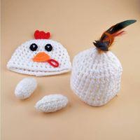 Handmade Unusual 2016 Newborn Crochet Baby Hat Photography Props Little Chicken Costume