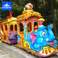 fun fair playgoud outdoor games children loved cute cartoon track train ,electric elephant train thumbnail image