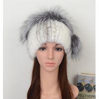 Mink Fur Hat Fashion Style with Pom Pom
