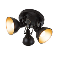 OTOFN Flat bottom and tilting pole spotlight, retro design 40W E14 black / gold