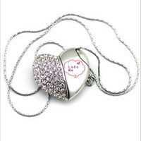 Diamond heart shape usb flash drive for gifts
