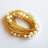 Cotton thread used connected Inelastic Colorful Glass rice beads waist belly African waist bead thumbnail image