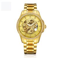 Dragon Roles gold automatic men watch skeleton mechanic movement
