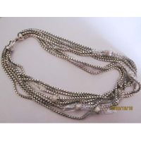 Sterling Silver Jewelry 8 Row Box Chain Necklace (N-026) thumbnail image