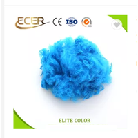 Synthetic fiber 1.5D recycled and virgin solid bule color polyester staple fiber