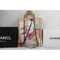 Chane Large Graffiti Painted Canvas Tote Bag A92317 in Apricot