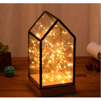 Fire tree and silver flower lamp, glass cover lamp, bedside table night lamp, LED decorative Christm thumbnail image