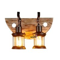 Indoor LED lighting dual vintage wooden wall lamp wood decor thumbnail image