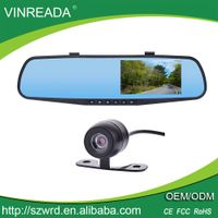 "Dual Lens 4.3"" Screen Rear View Mirror Car Camera Dash Camcorder Video Recorder"