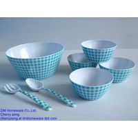 Reusable plastic salad bowl sets with fork and spoon of 7 pcs