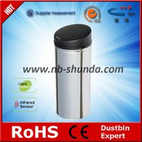 stainless trash can with lid metallic bin infrared sensor waste bin