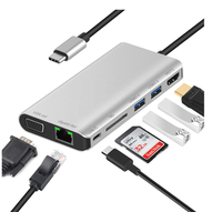 7 IN 1 Adapter type C Hub, USB3.1 Adapter To HDMI 2USB 3.0 SD Card USB C With RJ45 And VGA thumbnail image
