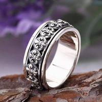 Men's Sterling Silver France Fleur De Lis Spinner Ring