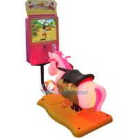 """Coin Operated Swing Kiddie Rides Rocking with 17""""Video Game- 3D Rushing Horse thumbnail image"""