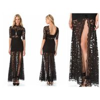Black High Slit V Back Lace over Maxi Dress