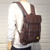 New Design Travel Bag Pu Leather custom vintage backpack with logo for Man thumbnail image
