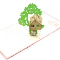 Tree house-3d card-pop up card-birthday card-handmade card-greeting card-laser cut-paper cutting