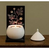 Decor candle with mother-of-pearl handicraft