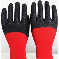 13 Gauge Red Nylon Liner with Black Latex Crinkle Coated Gloves thumbnail image