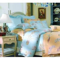 Fuanna Plumage 3 Pieces Set Lyocell Printed Queen Duvet Cover and Pillow Shams