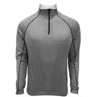Custom men's heather poly quarter zippered long sleeve reverse flatlock stitching t shirt