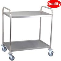 Functional three tier stainless steel service trolley